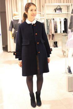 IENAのノーカラーコート。きれいで、程よくカジュアルでかわいい!