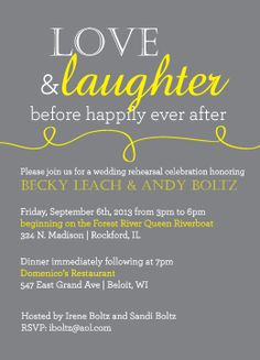 Love+and+Laughter+Rehearsal+Dinner+Invitation++by+CCBKate+on+Etsy,+$16.00