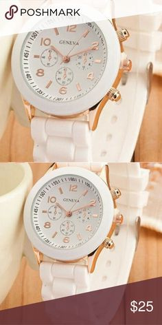 GORGEOUS WHITE UNISEX QUARTZ WATCH Gender: Unisex  Movement: Quartz : Battery  Display: Analog  Style: Fashion  Features: Easy To Read  Watchband Material: Silicon  Shape of the dial: Round  Color:White,   Package included: 1 x Wrist Watch Geneva Accessories Watches