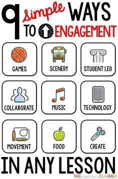 9 EASY ways to up student engagement in ANY lesson! This is another great tool to have available when you are planning, because it offers different ideas for engagement. Its vague enough that it can be applied and tailored to any lesson! Instructional Strategies, Teaching Strategies, Teaching Tips, Student Teaching, Teaching Activities, Daily Activities, Creative Activities, New Teachers, Elementary Teacher
