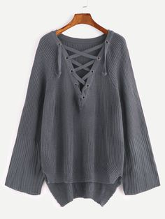 Shop Khaki Eyelet Lace Up Slit Side High Low Sweater online. SHEIN offers  Khaki Eyelet Lace Up Slit Side High Low Sweater   more to fit your  fashionable ... 28cb07c5a