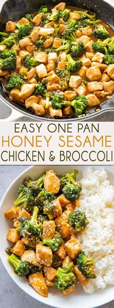 Honey Sesame Chicken Honey Sesame Chicken and Broccoli is made in one pan and ready to eat in 20 minutes! You will love the mouthwatering sauce full of sesame garlic and honey! Top Recipes, Asian Recipes, Gourmet Recipes, Dinner Recipes, Cooking Recipes, Healthy Recipes, Clean Eating, Healthy Eating, One Pot Meals