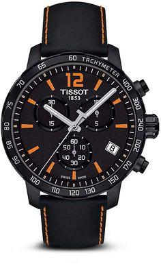 Tissot Quickster Men's Quartz Chronograph Black and Orange Dial Watch, 42mm
