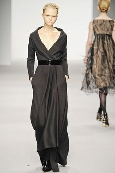 Jasper Conran #minimalist #fashion #style grey wrap long belted dress