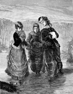 1879 The First Lesson by W.Gardner The illustrated London news Victorian Illustration, Ink Pen Drawings, London, News, Winter, Winter Time, London England, Winter Fashion, Pen Drawings