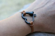 Horse shoe nail bracelet, Hand forged heart bracelet, Hand forged iron jewelry