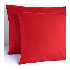3.99 punainen tai musta ja ja 1 tai 2 pakettia :) IKEA - DVALA, Tyynyliina, , Puuvillaa, joka tuntuu mukavan pehmeältä ihoa vasten.