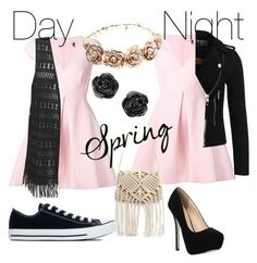 """Day to night spring look"" by maximeeeeexx on Polyvore featuring mode, Halston Heritage, Qupid, Converse, Forever 21 en Superdry"