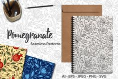 Pomegranate - Seamless Patterns by Elinorka on @creativemarket