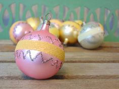 Mid Century Glass Christmas Ornaments Hand Blown Hand Painted