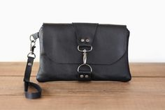 Black Leather Clutch - Wristlet by CrookedSmileCreations