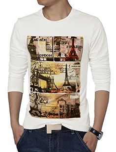 uxcell® Men Long Sleeve Letters Eiffel Tower Prints Casual T-shirt White M uxcell
