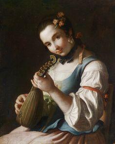 Pietro Rotari (1707-1762)  Detail: lute, girl, women's clothing, flowers, jewelry, pearls, ribbons
