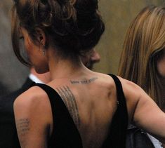 Angelina Jolie Tattoos - from the article Angelina Jolie Tattoo Meanings http://www.bubblews.com/news/666347-angelina-jolie-tattoo-meanings