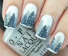 Adorable winter-y scene nails by @nailsbyjema