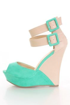 64bbfd3a9911 Sea Green Faux Leather Two Tone Peep Toe Ankle Strapped Wedges    Amiclubwear Wedges Shoes Store