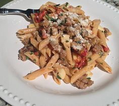 My Dog & Pony Show: penne with sausage, artichokes, and sun-dried tomatoes