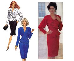 80s does 40s Wrap Top & Skirt Pattern by allthepreciousthings