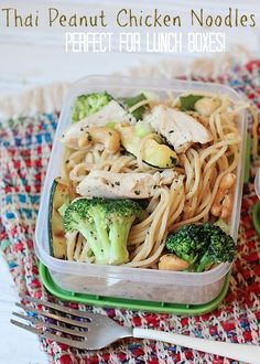 """Thai Peanut Chicken Noodles. The perfect """"Adult"""" lunch that can be eaten hot or cold from @busymomblog"""