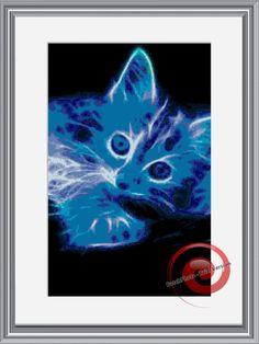 Blue Kitten Fractal Cross Stitch Pattern by KustomCrossStitch