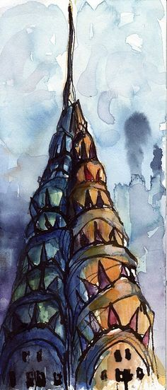 Watercolor. I'd like to do one of the Eiffel Tower for my new room.