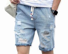 Men's destroy wash drawstring elastic waist ripped slim fit denim short with pockets Casual Shorts, Denim Shorts, Guys Shorts, Men's Leather Jacket, Shorts With Pockets, Mens Fashion, Tomboy Fashion, Blog, Short Jeans