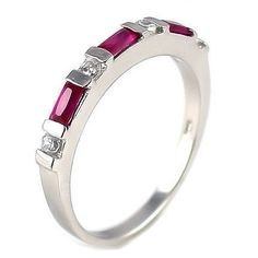 Loretta: 0.72ct Burmese Ruby & Ice on Fire CZ Stackable Band Ring