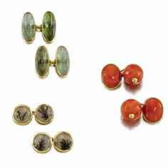 Three pairs of gem set cufflinks, one by Suzanne Belperron - The first pair set with cabochon tourmaline, by Belperron, French assay and maker's marks for Darde et Fils, the second set with cabochon and carved coral beads, the third set with dendritic agate, French assay and maker's marks.