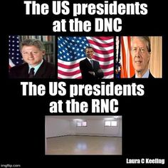 The US presidents at the DNC vs. RNC.