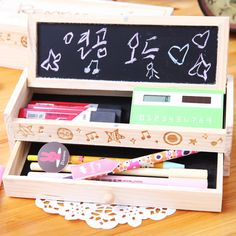 free shipping wooden pencil case Wool pencil box stationery box large capacity female brief wooden pencil
