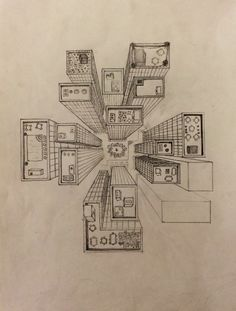 BIRD'S EYE VIEW DRAWING CITY PERSPECTIVE