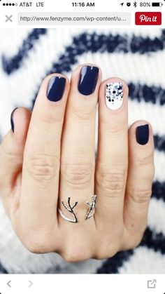 Cruise nails - only black and white with sliver and gold dots!