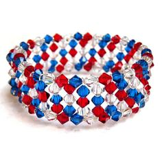Picture of 4th of July Crystal Memory Wire Bracelet