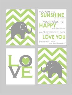 Gray and Green Modern Nursery Art Set  You Are My Sunshine Elephant Chevron LOVE Prints by karimachal, $40.00