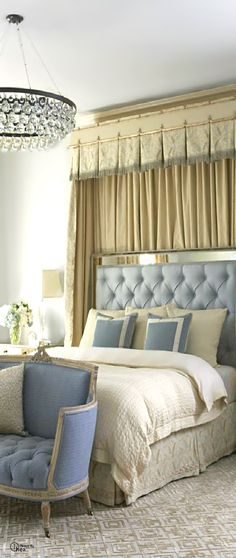 French Chic Bedroom.. Always Blues And Whites..Touch Of Taupe In Drapery Treatment Behind Bed,So Lovely.. Love This Bedroom!!