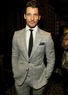 David Gandy Pale Grey Windowpane Check Suit