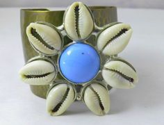 Gypsy Cowrie Shell Flower Pendant Cuff Bracelet - Beez Afrocentric Clothing & Accessories, Inc.