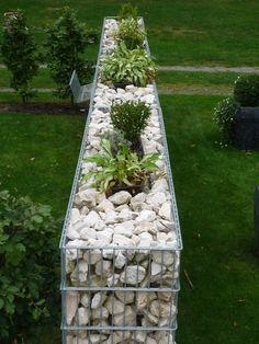 Fancy gabione und holz kombination Gartengestaltung u Garten und Landschaftsbau Pinterest