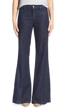 Free shipping and returns on AG 'The Lana' Trouser Jeans (Fury) at Nordstrom.com. Add a super-sophisticated pair to your denim wardrobe with wide-leg trouser jeans cut in adramatic flared silhouette below the knees. The super-dark wash features crisp lines in front and back that suggest tailored pleats.