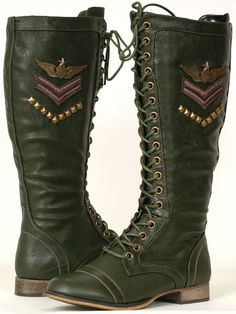 green womens couture shoes | New Military Fashion Women's Green Combat Dress Boots | eBay