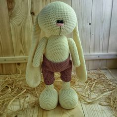 """The """"СROCHETED BUNNY"""" photo tutorial comes as a digital file in PDF format consisting of 32 pages. The file to crochet your own bunny of 38 − 40 cm [15−15.75 inches] height contains step-by-step written instructions accompanied by over 90 photographs illustrating all working steps to"""