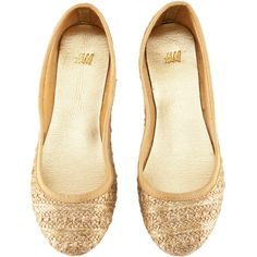 H&M Ballet pumps ($9.67) ❤ liked on Polyvore featuring shoes, flats, sapatos, sapatilhas, ballerinas, woven ballet flats, glitter flat shoes, glitter shoes, ballet flat shoes and flat shoes