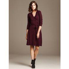Banana Republic Womens Gemma Chevron Wrap Dress Size XS - wear with some grittier boots