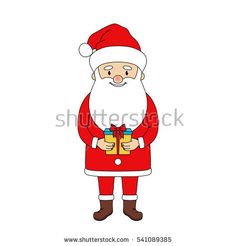 Santa Claus holding a gift box. Christmas vector illustration. Isolated on white.