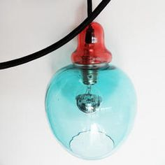 single LIGHT DROP, hand made glass lamp from India