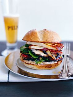 Grilled haloumi, roasted tomato and eggplant burger