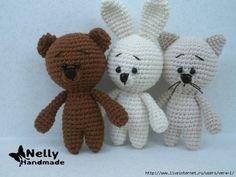 Los niños de punto de ganchillo: oso, gato y el conejo