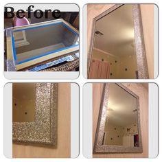 DIY mirror makeover. Glitter and glue. Queen Elsa room.