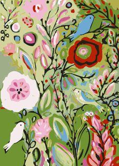 Jardín de flores aves Art Print Bohemia - impresión por Karen campos 8 x 10