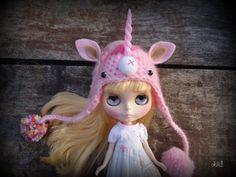 blythe pullip unicorn hat by sandraohh on Etsy, $22.00